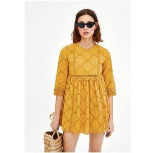Zara Size S Yellow Eyelet Romper